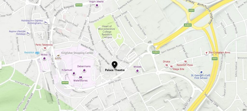 Map to The Palace Theatre Redditch.